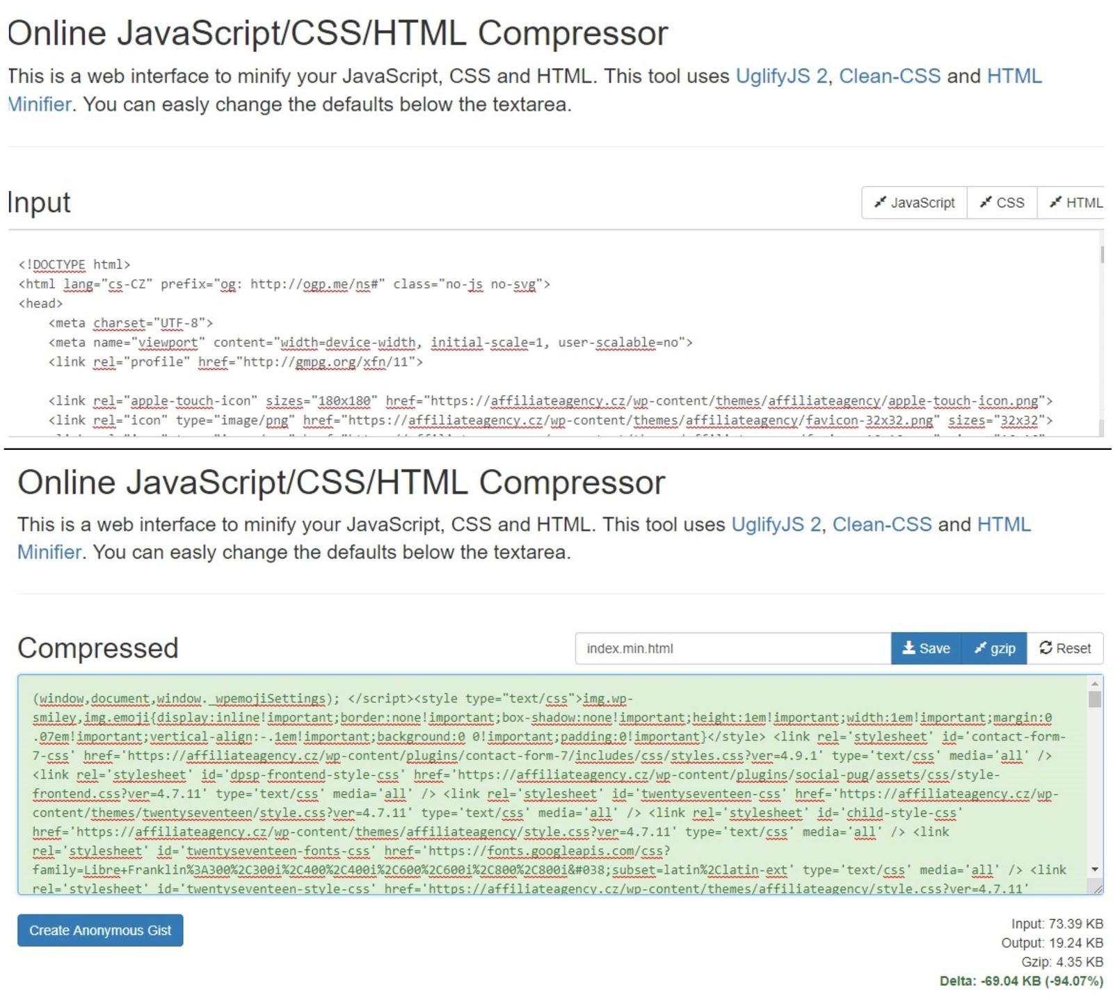 Minifikace CSS a její vliv na načítání stránek